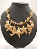 1980's Gold tone 'Sea-side' charm necklace **SOLD**